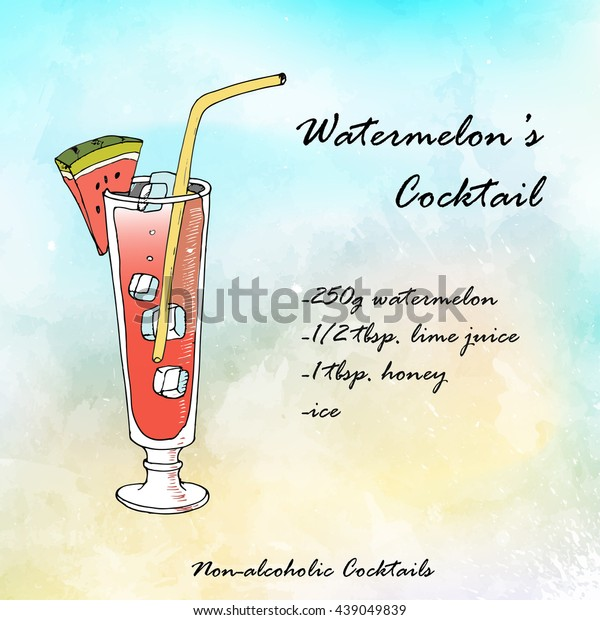 Nonalcoholic Cocktail Recipe Hand Drawn Stock Vector