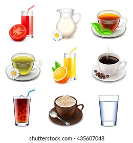 Non-alcoholic drinks icons detailed photo realistic vector set
