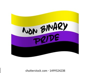 Non-binary  pride flag background. Genderqueer gender. Gender identitie. LGBTO movement. LGBTQ community.  Vector illustration.