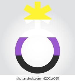 Non-binary pride flag in a form of nonbinary symbol. Vector EPS 10