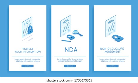 Non-disclosure agreement for confidential data. Set of posters with isometric vector illustrations on a white background. Include contract, lock, magnifier and pen.