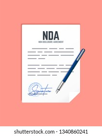 Non-Disclosure Agreement document with stamp and signature. Vector concept NDA with pen.