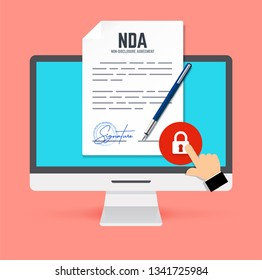 Non-Disclosure Agreement document with stamp and signature and monitor in flat style. Vector concept NDA with pen.
