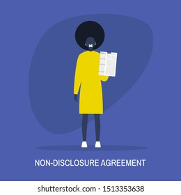 Non-disclosure agreement. Young black female character with a taped mouth holding an NDA document. Business concept. Flat editable vector illustration, clip art