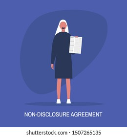 Non-disclosure agreement. Young female character with a taped mouth holding an NDA document. Business concept. Flat editable vector illustration, clip art