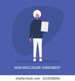 Non-disclosure agreement. Young indian male character with a taped mouth holding an NDA document. Business concept. Flat editable vector illustration, clip art