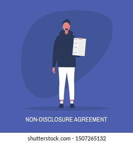 Non-disclosure agreement. Young male character with a taped mouth holding an NDA document. Business concept. Flat editable vector illustration, clip art