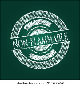 Non-flammable chalkboard emblem on black board