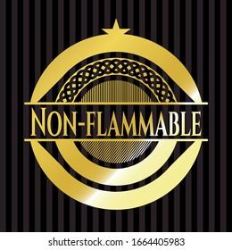 Non-flammable golden emblem or badge. Vector Illustration. Detailed.