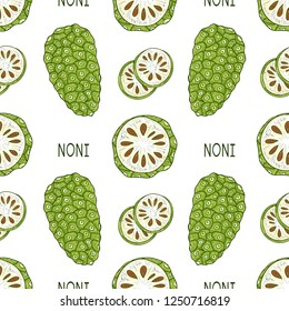 Noni. Fruit, leaves, text. Sketch. Texture, wallpaper, seamless, background. Color