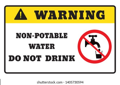 Non-potable water.warning sign drawing by illustration