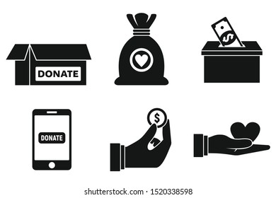 Nonprofit donations icons set. Simple set of nonprofit donations vector icons for web design on white background