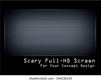 Non-signal Television Screen Vector Illustration. Grunge Scary TV Screen template. Full HD Resolution  Monitor for Your Concept Design. Glitch Effect