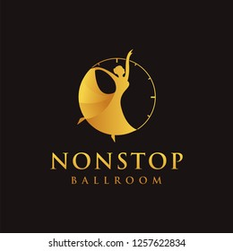 nonstop dancing logo, dancing in a clock, with gradient style