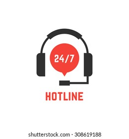 nonstop hotline support with headphones. concept of telemarketing, professional, secretary, live feedback. isolated on white background. flat style trend modern logotype design vector illustration