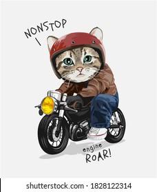 nonstop slogan cute cat riding motorcycle illustration