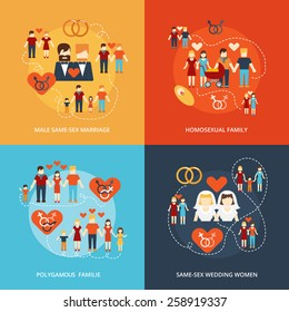 Nontraditional family 4 flat icons composition gay and lesbian homosexual couples and polygamy abstract isolated vector illustration