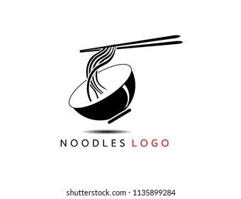 Noodle bowl logo template. Chinese food vector design. Ramen noodles illustration EPS10.