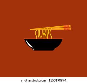 Noodle bowl with slurps word