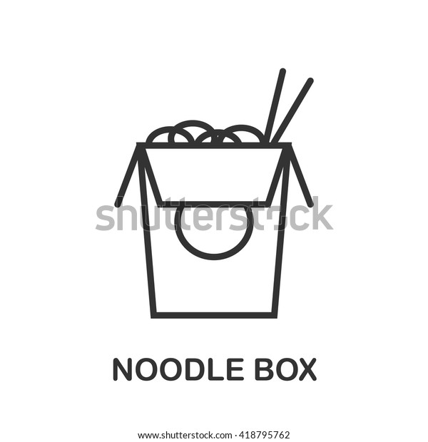 Noodle Box icon or logo line art style. Vector Illustration.