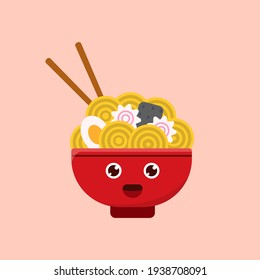 Noodle With Egg Icon, Logo, and illustration Vector