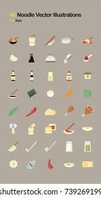 Noodle Flat Vector Illustrations
