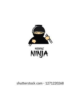 noodle ninja ramen tamplate logo vector   icon symbol