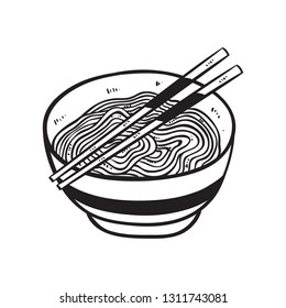 noodle or ramen with chopsticks using doodle style on white background