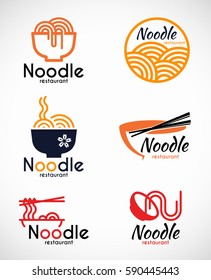 Noodle restaurant and food logo vector design