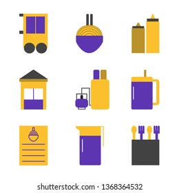 noodle shop, store, water, food Flat Style Icon Vector - Vector