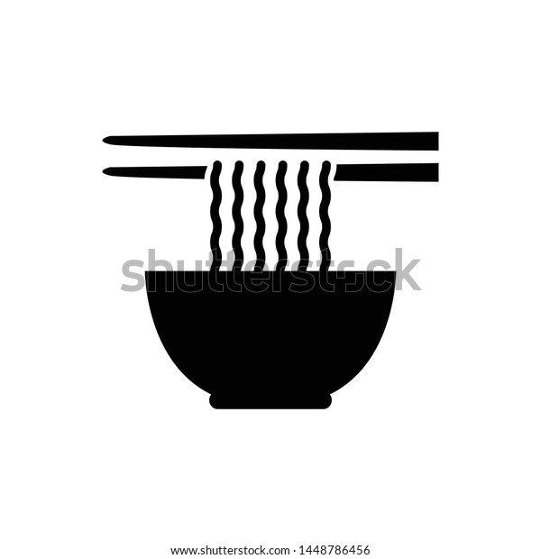 Noodle Soup Bowl Chopsticks Vector Icon Stock Vector Royalty Free 1448786456