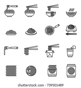 noodles- Asian food  icons set. Line Style stock vector.