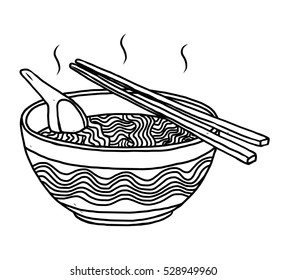 noodles bowl / cartoon vector and illustration, black and white, hand drawn, sketch style, isolated on white background.