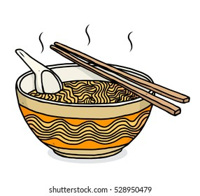 noodles bowl  / cartoon vector and illustration, hand drawn style, isolated on white background.