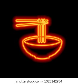 Noodles in bowl and chopstick, soup ramen, asian food, france pasta. Icon of kitchen. Orange neon style on black background. Light icon