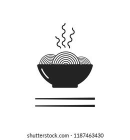 Noodles bowl with chopsticks. Black icon. Vector illustration, flat design