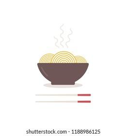 Noodles bowl with chopsticks. Vector illustration, flat design