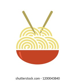 noodles bowl food healthy vegetables - ramen spaghetti delicious vector illustration