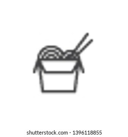 Noodles box with chopsticks line icon. linear style sign for mobile concept and web design. Chinese take away fast food outline vector icon. Symbol, logo illustration. Pixel perfect vector graphics