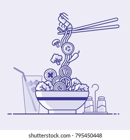 Noodles with chopstick served on traditional bowl. vector illustration - noodle, shrimps, mushroom, chopstick, chilli, cucumber, lettuce, cauliflower, onion slice, black pepper, cold water