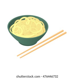 Noodles with chopsticks icon in cartoon style isolated on white background. Food symbol
