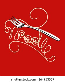 Noodles and fork