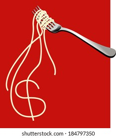 Noodles forming symbol of Dollar