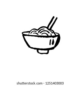 Noodles icon. Ggrunge ink brush vector illustration. Food flat illustration.