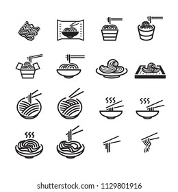 noodles icon set