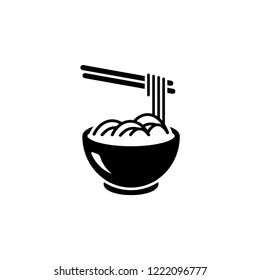 Noodles Icon Vector Illustration Sign Symbol in White Isolated. Design on Flat & Glyph Style. EPS 10.