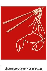 Noodles on chopsticks forming sea food, CRAB