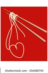 Noodles on chopsticks forming a shape of HEART