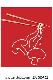 Noodles on chopsticks forming a shape of MUSHROOM