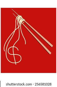 Noodles on chopsticks forming A shape of American Dollar